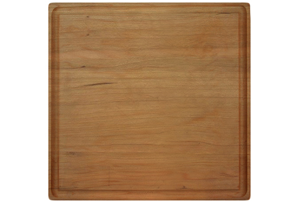 Square cherry cutting board with rounded corners & juice groove